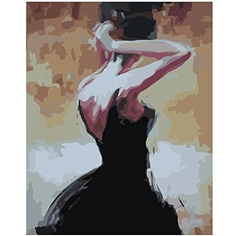 Igemy Ballet Thème DIY Peinture peint à la main sur toile Home Décoration murale Tableau Salon F