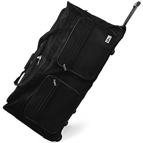Bolsa de viaje XXL Maleta color negro 160 litros Medidas: 85 x 43 x 44 cm con 3 ruedas 5 pies mango telescópico extraíble Material: poliéster 600D con revestimiento de PVC