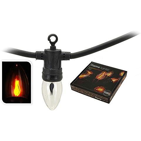 Catena di lampadine da esterni, 10 lampadine effetto fuoco/candela