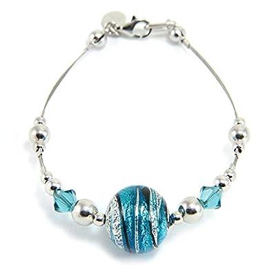 Bracelet en argent 925 rhodié, verre de Murano et cristaux de Swarovski BFR046 / W01