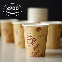 200 unidades. Coffe to go - Vasos de café reciclables resistentes al calor (200 unidades, 200 ml), diseño de granos de café con texto