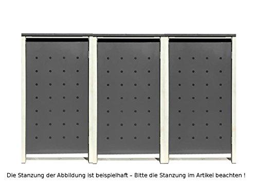 BBT@ | Hochwertige Mülltonnenbox für 3 Tonnen je 240 Liter mit Klappdeckel in Silber / Aus stabilem pulver-beschichtetem Metall / Stanzung 7 / In verschiedenen Farben sowie mit unterschiedlichen Blech-Stanzungen erhältlich / Mülltonnenverkleidung Müllboxen Müllcontainer - 2