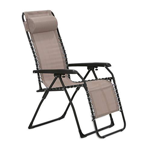 maxVitalis Gartenstuhl mit verstellbare Rückenlehne und Fußteil, Mit Armlehnen, Sonnen-Liegestuhl klappbar u. leicht, Gartenliege, Sonnenliege, Campingstuhl, grau
