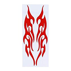 SHIJIAN Multi Colors 18CM Flame Car Sticker Bumper Sticker Rearview Mirror Sticker Front Cover Sticker Scratch Sticker Car Decoration Car Accessoires Car Styling Gift for Friends and Families,Red