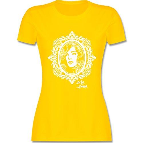 Vintage - Bella Donna - tailliertes Premium T-Shirt mit Rundhalsausschnitt für Damen Gelb