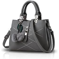 NICOLE & DORIS 2018 neue Welle Paket Kuriertasche Damen weiblichen Beutel Handtaschen für Frauen Handtasche(Gray)