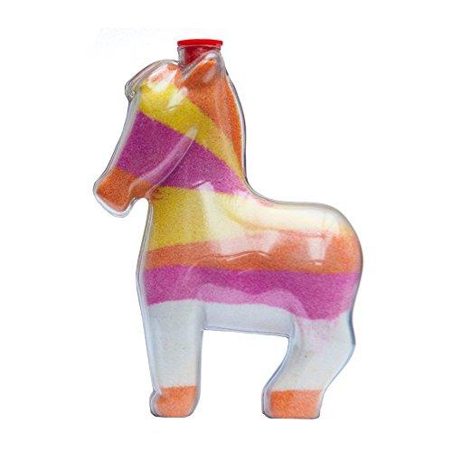 Sandkunstbastelflaschen mit roten Plastikstöpseln, einzigartige Penny das Pony Form, ideal für Sandkunstaktivitäten in Schulen oder auf Gemeindeveranstaltungen, Kinderfeiern drinnen oder im Freien. Leere Sandflaschen, die mit farbigem Sand aufgefüllt werden - Sand-souvenir-flasche