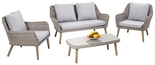 Maze Rattan msc-4020202-Sitzer Paris Sofa-Set in einem Geflecht-Licht Grau Ton -