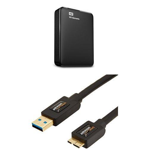 Preisvergleich Produktbild Western Digital Elements 3 TB Externe Tragbare Festplatte (6,4 cm (2,5 Zoll), USB 3.0) schwarz und AmazonBasics USB-3.0-Kabel A-Stecker auf Micro-B-Stecker (0,9 m)