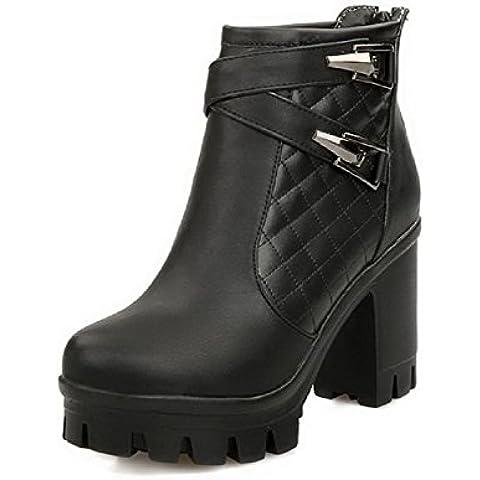 AgooLar Donna Cerniera Tacco Alto Luccichio Puro Bassa Altezza Stivali con Metallo
