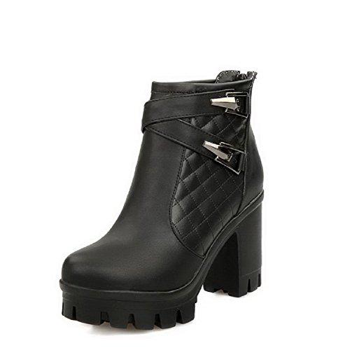 AllhqFashion Damen Reißverschluss Weiches Material Hoher Absatz Stiefel mit Metallisch, Schwarz, 34