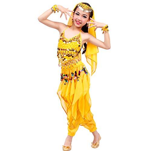 JIE. Neue Kinder Bauchtanz Kostüme Trainingskleidung Set Indian Dance Scorpio Girl Kostüme,Yellow,M (Halloween Für Mime-kostüme)