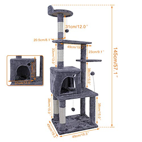 lili Domestic Delivery Big Cat Tree Tower Condo Furniture Scratch Post Cat Jumping Toy with Ladder for Kittens Pet House Play,Gray,148cm