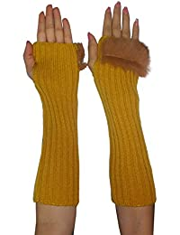 Womens Long Knitted Fingerless Gloves / Hand Warmers with Fluffy Faux Fur