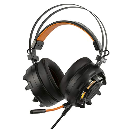 Konix WoT GH-60 - Casque Gamer PC Compatible PS4 - Audio 7.1 Surround HD Avec Vibration - Casque Gaming PC USB - Coussinet Confortable - Casque Micro Omnidirectionnel - Rétroéclairage LED Orange