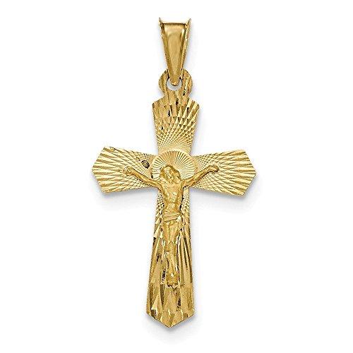 14K oro giallo lucido e satinato Diamante taglio Crocifisso Ciondolo