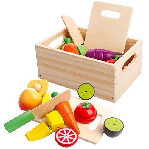 mysunny Hölzernes Geschnittenes Obst und Gemüse als Spielzeug Küche Simulation Bildungs Spielzeug und Farbe Wahrnehmung für Kinder im Vorschulalter Kleinkinder Jungen Mädchen -