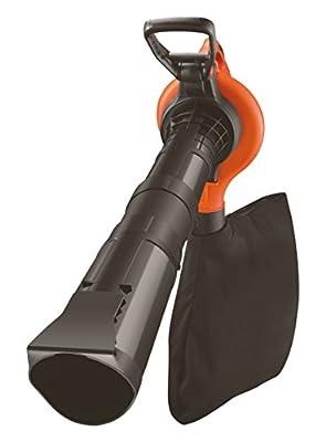 Black + Decker 3.000 Watt 3-in-1 Elektro-Laubsauger, mit Laubsammelsystem, Häcksler, 418km/h Blasgeschwindigkeit,GW3050
