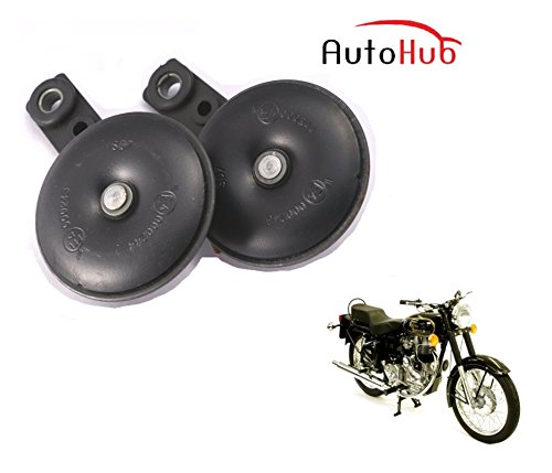 Auto Hub Uno Minda Bike Horn Set For Royal Enfield Bullet 350 - Set of Two (Black)  available at amazon for Rs.499