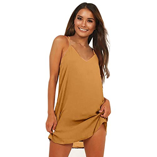 Moonuy Summer Damen ärmelloses Kleid Damen Solide leichte Sommerkleid Mode tiefem V-Ausschnitt ärmellose lose Bodenbildung Mini Strandkleid