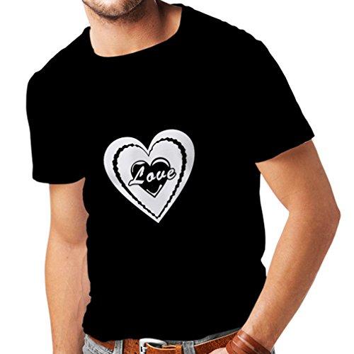 Männer T-Shirt Ich Liebe Dich - Valentinsgrußtag zitiert große Geschenke (Small Schwarz Fluoreszierend)