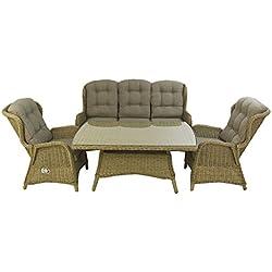 Conjunto sofás de jardín | Mesa Centro 140 cm, 2 butacas y 1 sofá 3 plazas | Color Natural | Aluminio y rattán sintético Redondo | 5 plazas | Portes Gratis