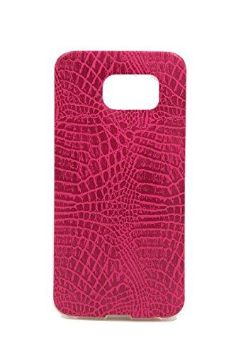 Mobile-edge-pink Handtasche (Ultra Slim Transparent Weich Klar Silikon Gel Verziert mit Vegan Schlange Skin Schutzhülle Stoßfest Bumper Fall/Cover für Samsung Galaxy 6Edge von dzhavael, Hot Pink)