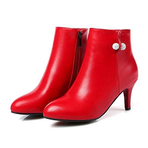VogueZone009 Donna Bassa Altezza Cerniera Tacco Medio Stivali con Metallo Pezzo Rosso