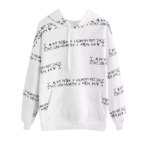 Schule Kostüm Damen Mädchen - CICOCO Tolles Kostüm Für Jeden Tag Mädchen Hoodies, niedlichen Brief drucken Hooed Pullover Damen Schule Pullover Sport Sweatshirt (Farbe : White, Größe : XX-Large)