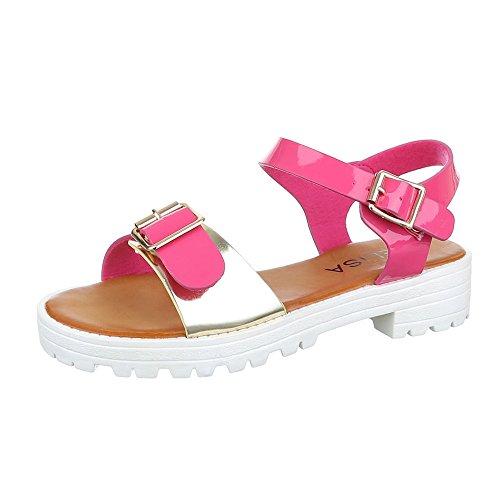 Design Leichte Sandalen Sandaletten Komfortsandalen Schnalle Blockabsatz Pink Gold Damen Schuhe Ital Römersandalen nzI0T