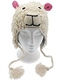 Divertido Ovejas Hecho a mano invierno lana Animal gorro con forro polar, unisex