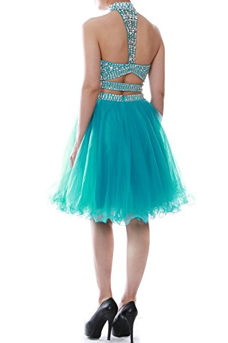 MACloth Women Two Piece Halter Tulle Short Prom Dress Homecoming Party Ball Gown Grün