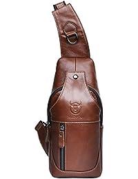 Leathario bolso mochila de pecho piel cuero para hombres con cuero compuesto para diario o trabajo.
