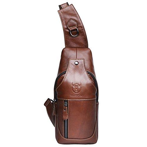 BULLCAPTAIN Leathario Herren Rindleder Brusttasche Sling Bag Brustbeutel Crossbody Bag Freizeittasche Umhängetasche Schultertasche Schwarz Braun2