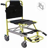 Silla de escalera aluminio peso ligero ambulancia médico elevación, transporte de paciente paramédico 4 ruedas silla de evacuación, capacidad de carga: 400 lbs