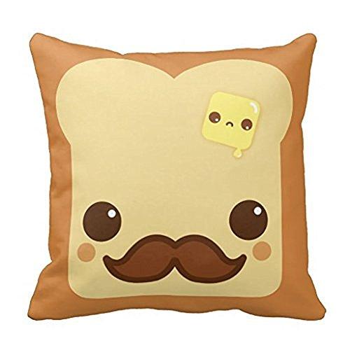 (Wensing kawaii Toast mit Schnurrbart und Butter Kissen Fall 45,7x 45,7cm)