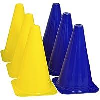 grazzo resistente marcador conos 9pulgadas formación práctica Blue-Yellow Spot marcadores, Atlético, 9 Inches, Azul-Amarillo
