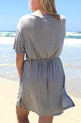 Blansdi Damen Elegant Casual Sommer Strand Longshirt Rundhals Kurzarm Lose T-Shirt-Kleid elastischer Bund Basic Kleider Bluse Hemdkleid Grau
