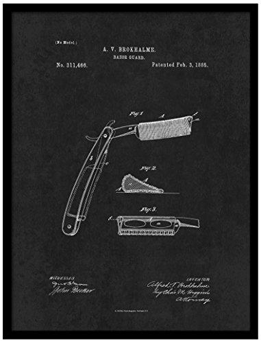 Spot Farbe Art patent150033bk-p 1885Barber Razor Guard, 17,8x 22,9cm