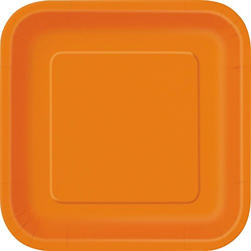 Party Orange Supplies (23 cm, quadratisch Party Teller,)
