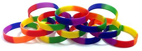 1docena de Multi-pack Rainbow orgullo pulseras de silicona pulseras de goma - LYSB01F7EVYK8-SPRTSEQIP, Arcoiris (Rainbow)