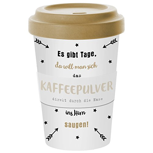 Coffee to go Becher aus Bambusfasern 400ml (Kaffeepulver)