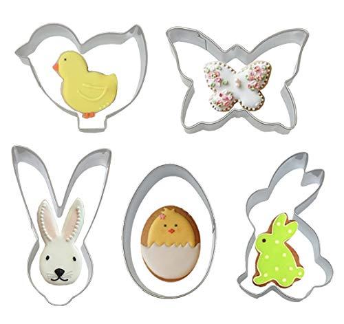 5 x Oster-Keksausstecher, Edelstahl antihaftbeschichtet, Mini-Kekse, Fondant, mit Kaninchen, Küken, Ostereier, Schmetterling, für Kinder und Erwachsene (Oster Mikrowellen)