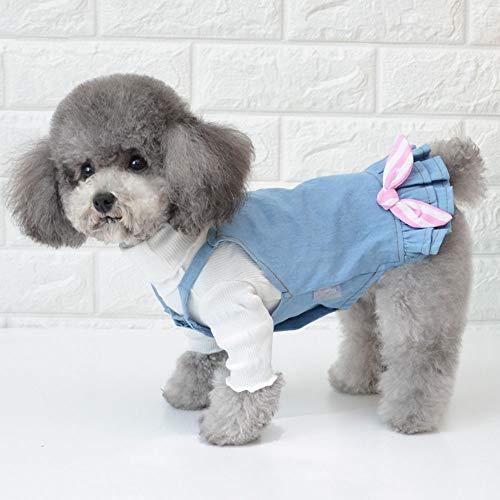 YUEBAOBEI Haustier-Kleidung/Hund Gefüttert Denim Rock, Zwei-Teiliges Set-Bügel-Kleid, Leicht Herbst-Winter-Doggy-Overall-Kleid Für Small Medium Hund Katze,A,L -