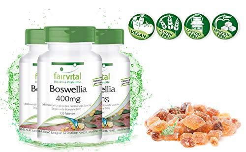 Boswellia Weihrauch 400mg, Boswellia serrata - mind. 65% Boswelliasäuren - 360 Tabletten (3x 120 vegane Tabletten) -