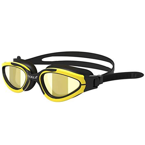 Nalkusxi Schwimmen-Schutzbrillen der Frauen Googogle UVverhinderungs-Antibeschlagenglas-Linse für Anfänger-Unterseeboot, Das Silikon schnorchelt (Color : Yellow)