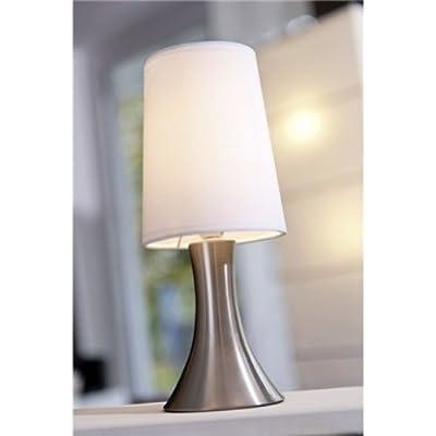 Tischlampe mit Dimmer mit Touch me Funktion 3 Stufen mit Edelstahlfuss mit weissem Lampenschirm von Touch Me von Tops bei Lampenhans.de