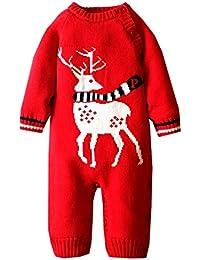 ZOEREA grenouillère bébé pull bébé fille barboteuse enfant vetement bebe fille costume enfant garçon pyjamas bébé manches longues sweater chandail de Noël
