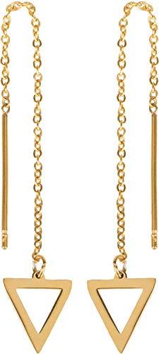 styleBREAKER Damen Edelstahl Ohrhänger in Dreieck Form, Durchzieh Ohrringe, Ohrschmuck 05090003, Farbe:Gold