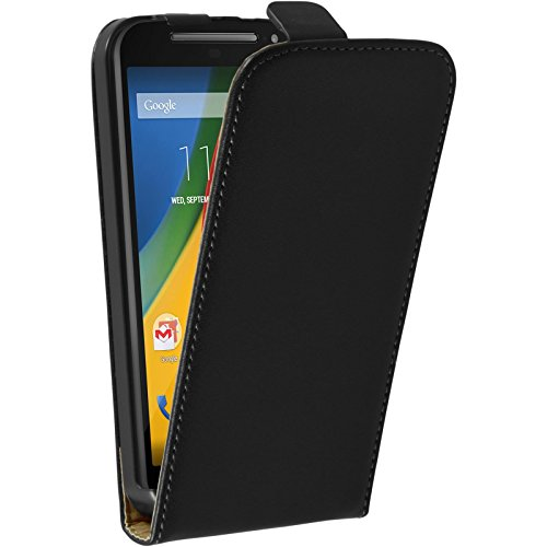 PhoneNatic Kunst-Lederhülle kompatibel mit Motorola Moto G 2014 2. Generation - Flip-Case schwarz + 2 Schutzfolien
